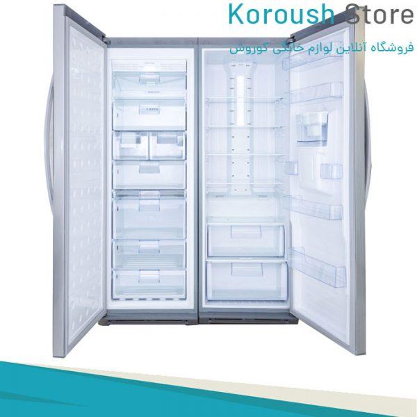 یخچال فریزر دو قلو آیس پول هیمالیا در رنگ های نقره ای و سفید چرمی